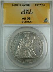 1850 Seated Liberty   ANACS Details Cleaned