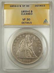 1859 0 Seated Liberty   $1 ANACS Details Cleaned