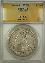 1859 O Seated Liberty   $1  ANACS Details Cleaned