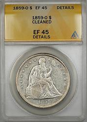 1859 O Seated Liberty   $1  ANACS Details Cleaned PRX