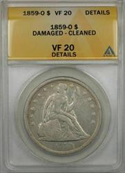 1859 O Seated Liberty   $1 ANACS Damaged Cleaned Details (9A)