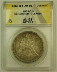 1859 O Seated Liberty   $1 ANACS Details Scratched Cleaned