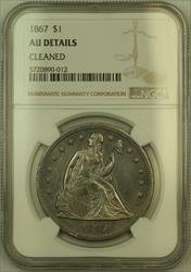 1867 Seated Liberty   $1 NGC AU Details PL Prooflike (KH)