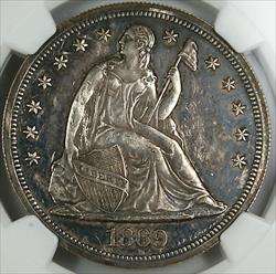 1869 Seated Liberty   NGC Proof Details Obverse Damage
