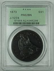 1873  $1  Copper Pattern PCGS BN J 1274 OGH Seated Liberty WW