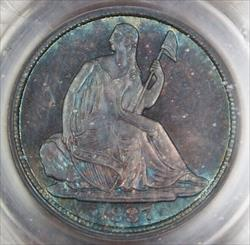 1837  Half Dime PCGS No Stars Large Date Toned (Better )