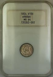 1854 Arrows Seated  Half Dime 5c  Old NGC Raised Logo Toned
