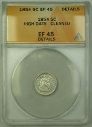 1854 High Date Seated Liberty  Half Dime 5c  ANACS Details RJS