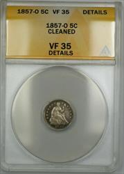 1857 O Seated  Half Dime 5c  ANACS Details Cleaned PRX