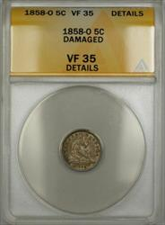 1858 O Seated  Half Dime 5c  ANACS Details Damaged PRX