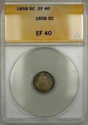 1858 Seated  Half Dime 5c  ANACS PRX