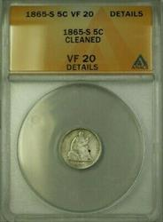 1865 S Seated  Half Dime 5c  ANACS Details Cleaned (WW)