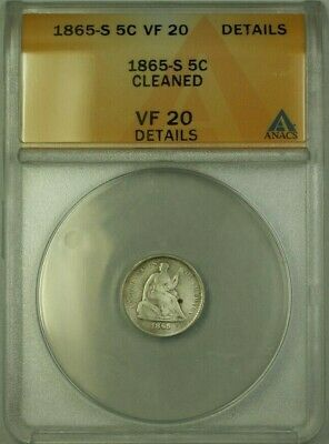 1865 S Seated Liberty Half Dime 5c  ANACS Details Cleaned (WW)