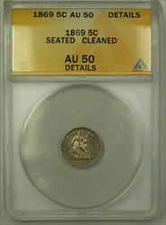 1869 Seated Half Dime 5c   ANACS Details (Better) PL
