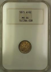 1871 Seated  Half Dime 5c Old NGC Holder Toned (Better )