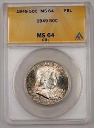 1949 Franklin  Half  50c  ANACS FBL Nicely Toned