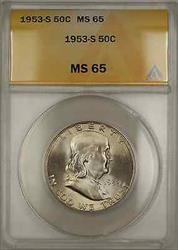 1953 S  Franklin Half   50C ANACS Light Toning DGH