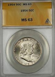 1954  Franklin Half  50c  ANACS Lightly Toned