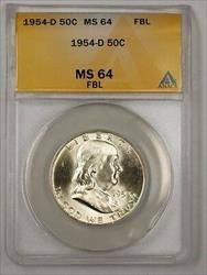 1954 D Franklin  Half  50c  ANACS FBL (Better) (A) RL