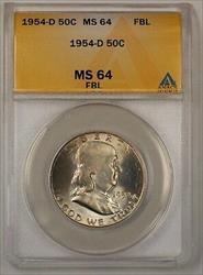 1954 D Franklin  Half  50c  ANACS FBL Toned (D)RL