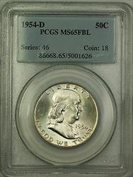 1954 D Franklin  Half  50c  PCGS Full Bell Lines GEM BU