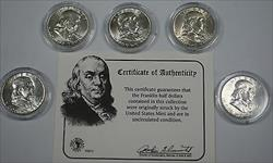 5 Uncirculated Franklin  Half  s Mixed Dates in Deluxe Case