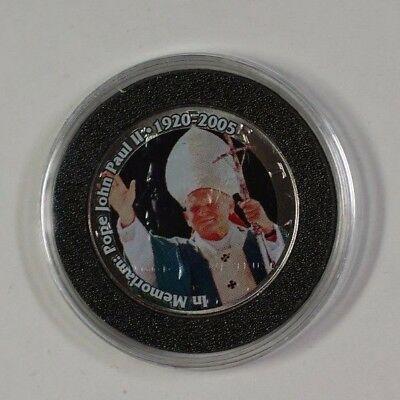 Colorized Pope John Paul II In Memoriam on a 2005 Kennnedy Half  in Case