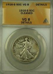 1916 S Walking Liberty Half  50c ANACS Details Cleaned (Better) (WW)