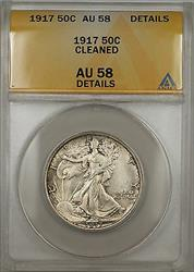 1917 Walking Liberty  Half  50c  ANACS Details Cleaned