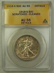 1918 S Walking Liberty  Half  50c  ANACS Details Scratched