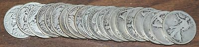 1919 D Walking Liberty Half  50c Roll 20 Circulated 90%  s Lot