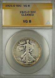 1921 D Walking Liberty  Half  50c  ANACS Cleaned *KEY DATE*