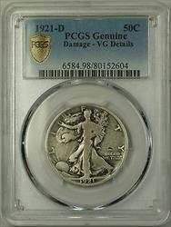 1921 D Walking Liberty Half  50c PCGS Genuine Damage  VG Details