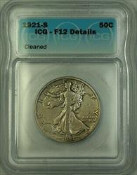 1921 S Walking Liberty  Half  50c  ICG Details Cleaned +