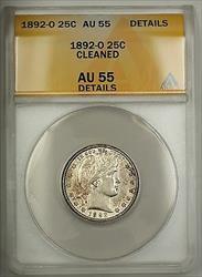 1892 O Barber  Quarter 25c ANACS Details Cleaned (Better )