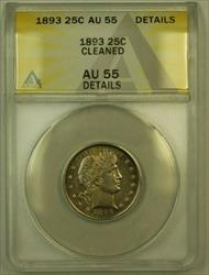 1893 Barber  Quarter 25c ANACS Details Cleaned (RS) (Undergraded)