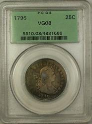 1796 One Year Type  Draped Bust Small Eagle Quarter 25c OGH PCGS CL