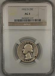 1932 D Washington  Quarter 25c  NGC **KEY DATE**