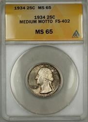 1934 Medium Motto Washington  Quarter  FS 402 ANACS Toned (9)