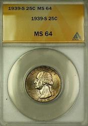 1939 S Washington  Quarter 25c  ANACS Toned