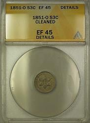 1851 O 3c  Three Cent  ANACS Details Cleaned PM