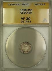 1858 3c  Three Cents ANACS Details Cleaned (Better ) PM