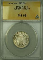 1912-A Tunisia AH1330 1 Franc Coin ANACS  KM#238
