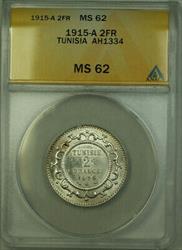 1915-A Tunisia AH1334 2 Francs Coin ANACS  KM#239