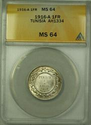 1916-A Tunisia AH1334 1 Franc Coin ANACS  KM#238