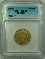 1926 Tunisia 1 Franc Coin ICG + KM#247