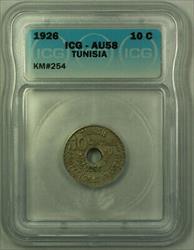 1926 Tunisia 10 Centimes Coin ICG  KM#254