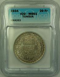 1934 Tunisia 20 Francs Coin ICG  KM#263