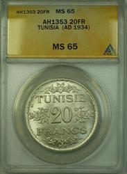 1934 Tunisia AH1353 Silver 20 Francs Coin ANACS  KM#263