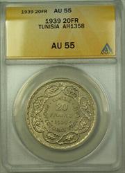 1939 Tunisia AH1358 Silver 20 Francs Coin ANACS  KM#E23